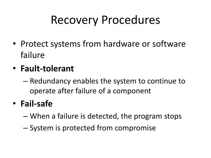 Recovery Procedures