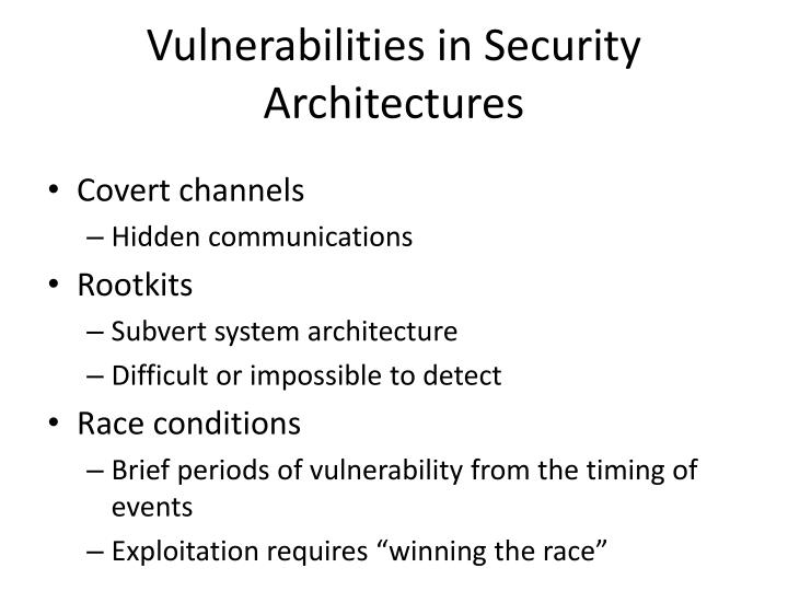 Vulnerabilities in Security Architectures