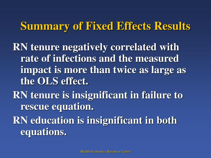 Summary of Fixed Effects Results