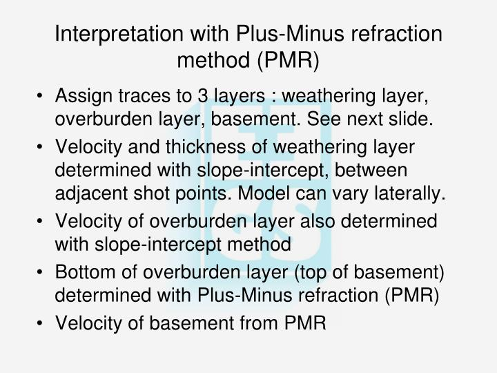 Interpretation with Plus-Minus refraction method (PMR)