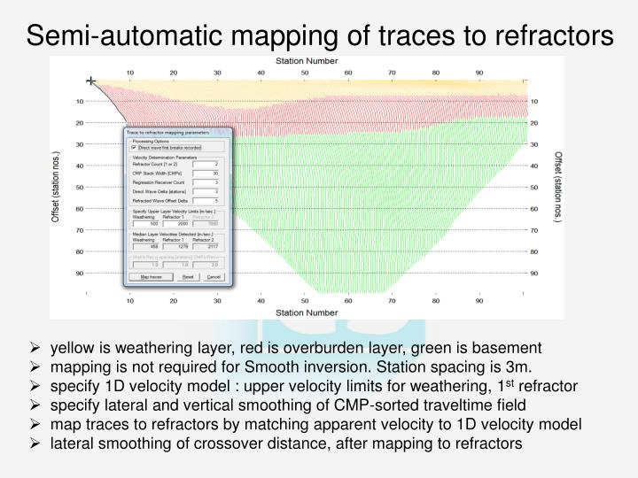 Semi-automatic mapping of traces to refractors