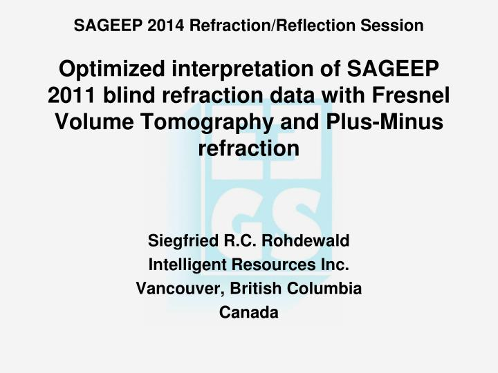 Siegfried r c rohdewald intelligent resources inc vancouver british columbia canada