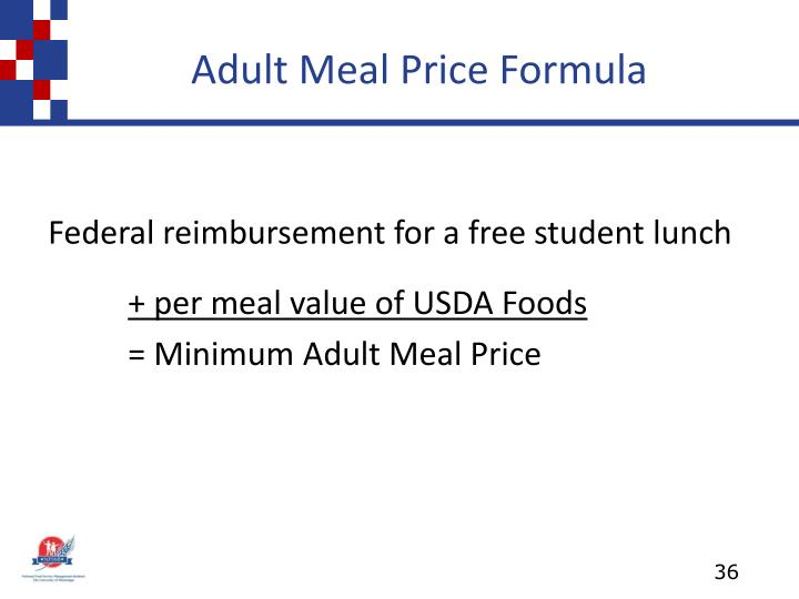 Adult Meal Price Formula