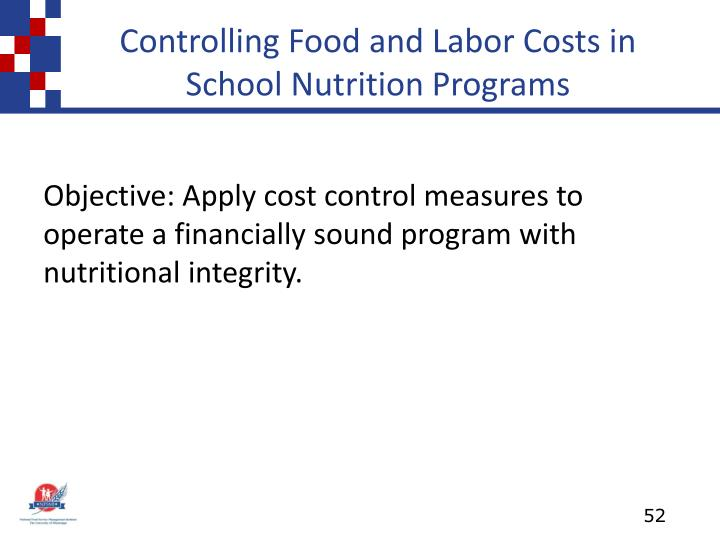 Controlling Food and Labor Costs in School Nutrition Programs