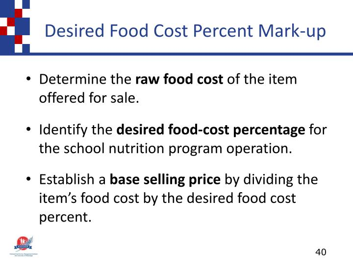 Desired Food Cost Percent Mark-up