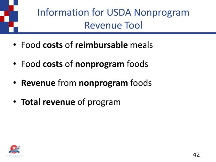 Information for USDA Nonprogram Revenue Tool
