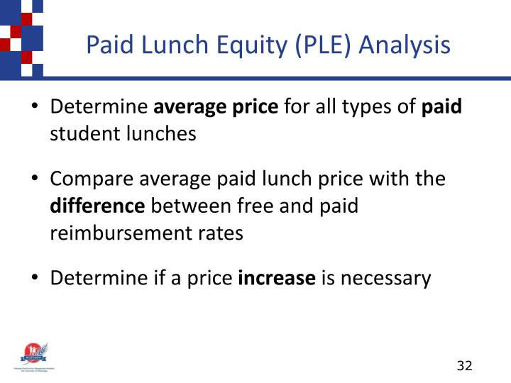 Paid Lunch Equity (PLE) Analysis