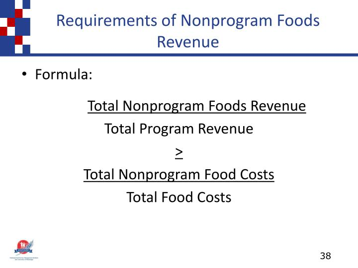 Requirements of Nonprogram Foods Revenue