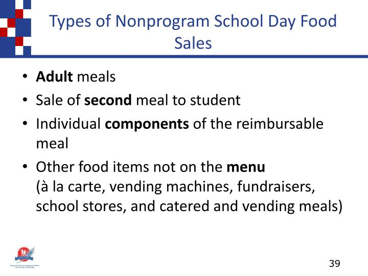 Types of Nonprogram School Day Food Sales