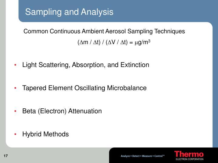 Sampling and Analysis