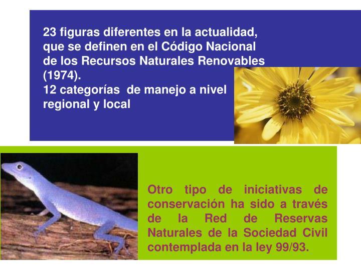 23 figuras diferentes en la actualidad, que se definen en el Cdigo Nacional de los Recursos Naturales Renovables (1974).