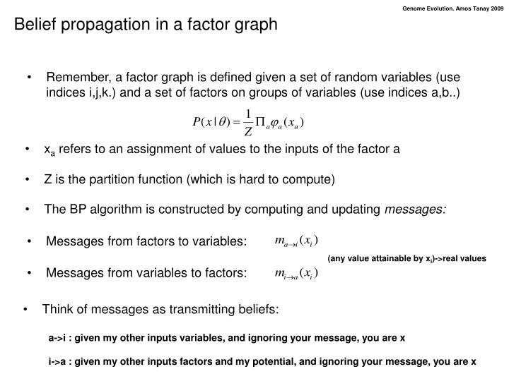 Belief propagation in a factor graph