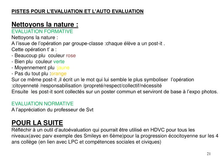 PISTES POUR L'EVALUATION ET L'AUTO EVALUATION