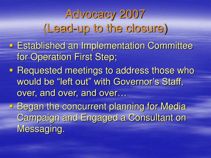 Advocacy 2007