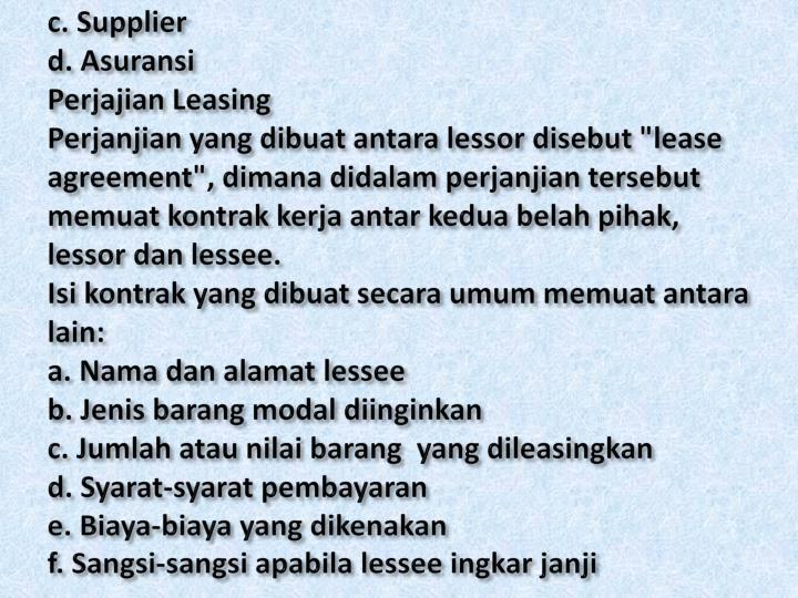 c. Supplier