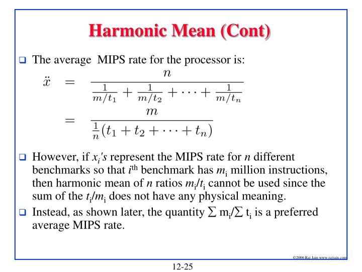 Harmonic Mean (Cont)