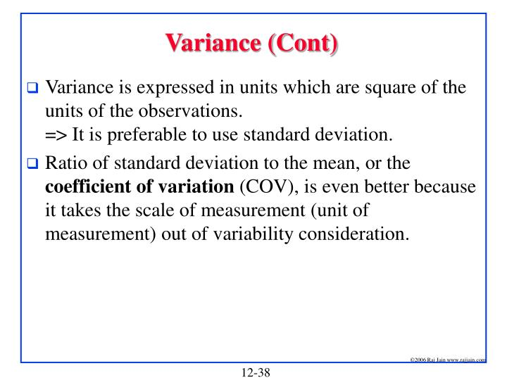 Variance (Cont)