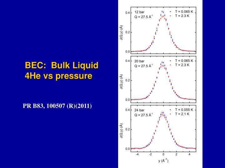 BEC:  Bulk Liquid 4He vs pressure