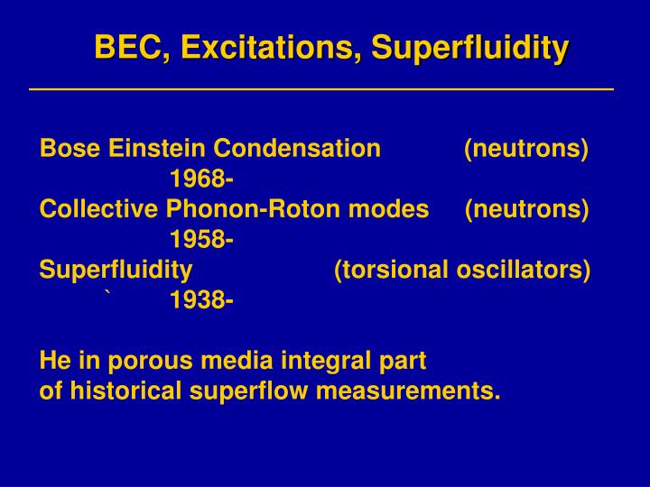 Bec excitations superfluidity