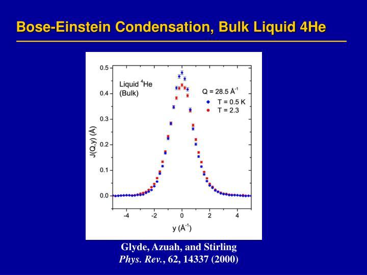 Bose-Einstein Condensation, Bulk Liquid 4He