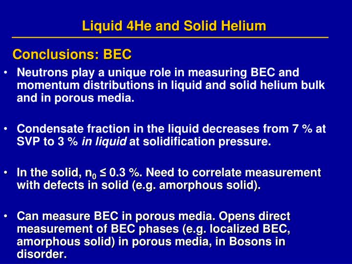 Liquid 4He and Solid Helium