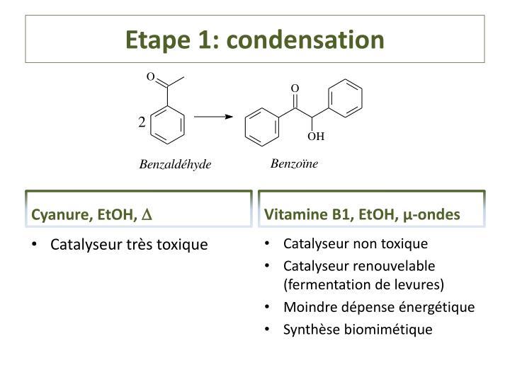 Etape 1: condensation