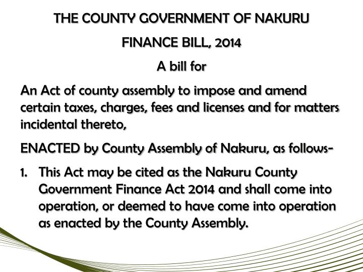 THE COUNTY GOVERNMENT OF NAKURU