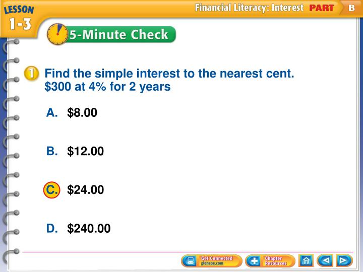 Find the simple interest to the nearest cent.