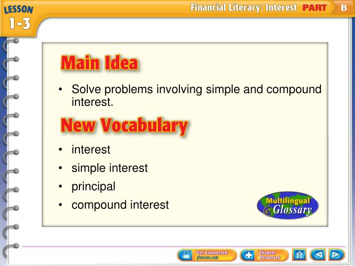 Solve problems involving simple and compound interest.