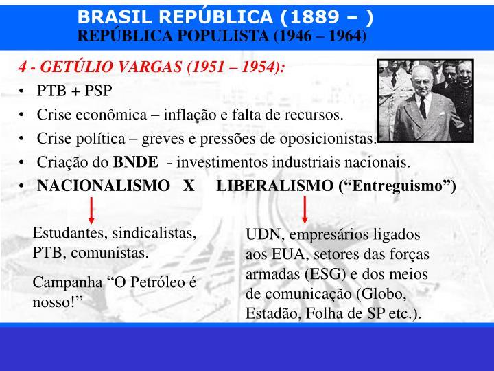 4 - GETÚLIO VARGAS (1951 – 1954):