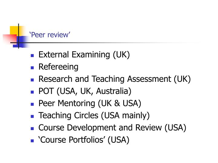 'Peer review'
