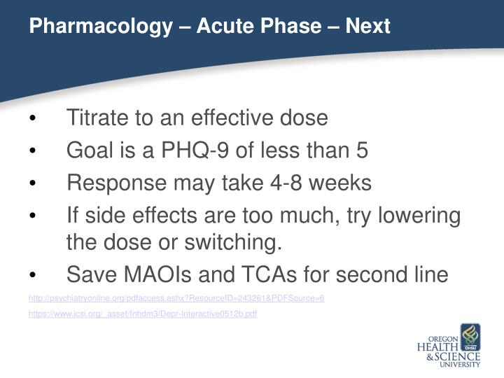 Pharmacology – Acute Phase – Next