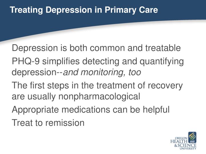 Treating Depression in Primary Care