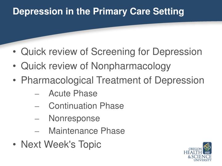 Depression in the Primary Care Setting