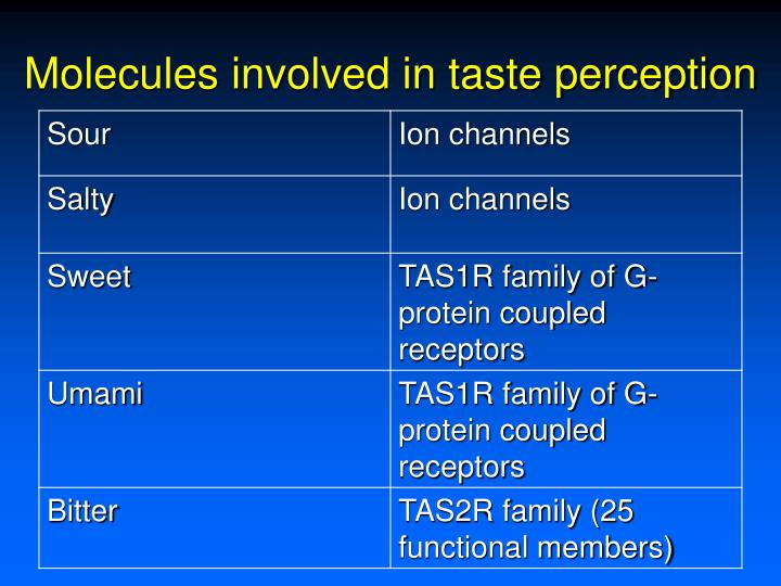 Molecules involved in taste perception