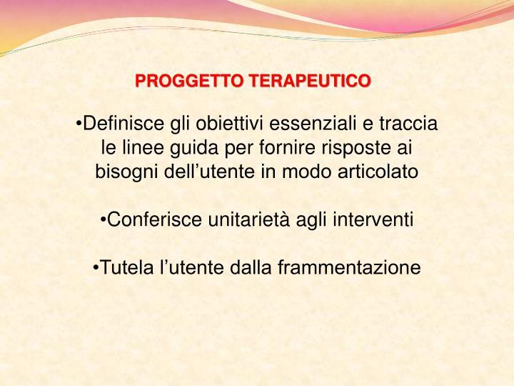 PROGGETTO TERAPEUTICO