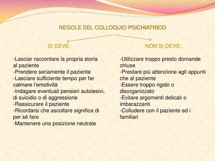 REGOLE DEL COLLOQUIO PSICHIATRICO