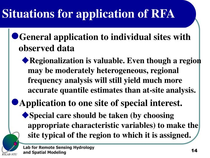 Situations for application of RFA