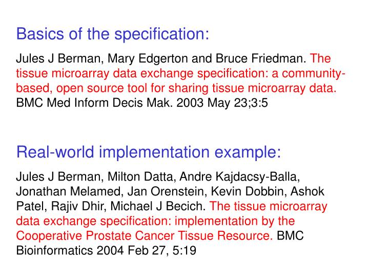 Basics of the specification:
