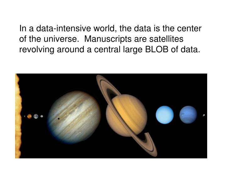 In a data-intensive world, the data is the center of the universe.  Manuscripts are satellites revolving around a central large BLOB of data.