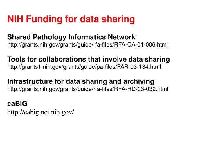 NIH Funding for data sharing