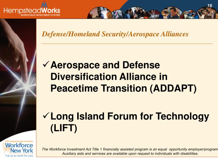 Defense/Homeland Security/Aerospace Alliances