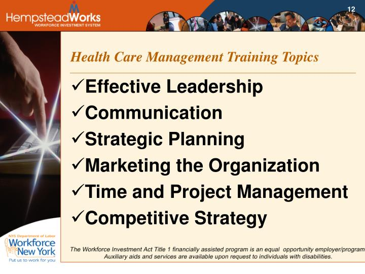 Health Care Management Training Topics
