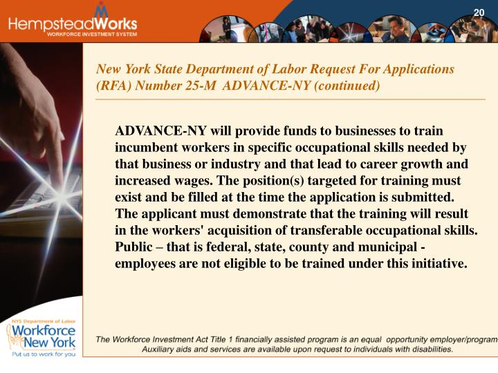 New York State Department of Labor Request For Applications (RFA) Number 25-M  ADVANCE-NY