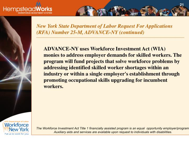 New York State Department of Labor Request For Applications (RFA) Number 25-M, ADVANCE-NY