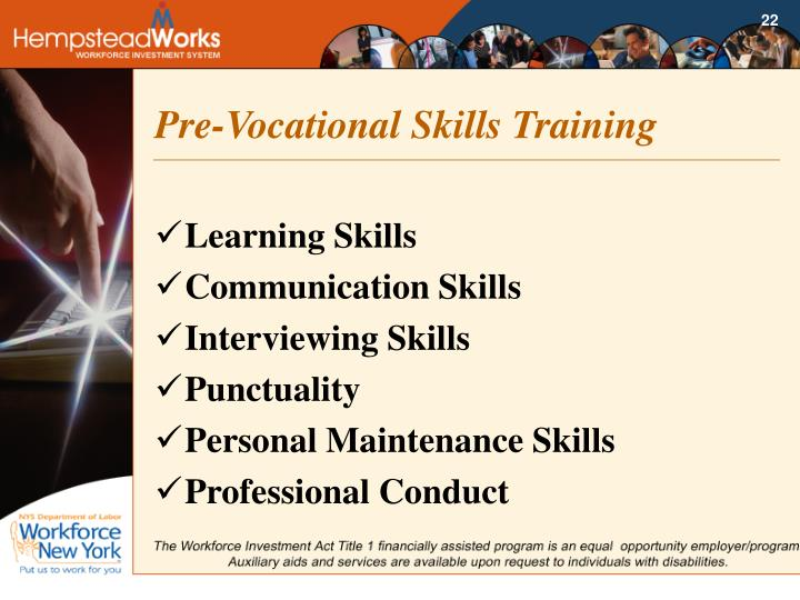 Pre-Vocational Skills Training