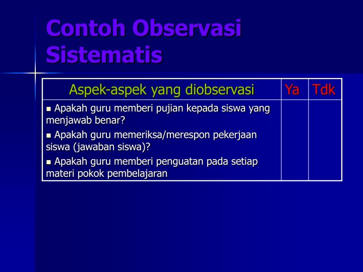 Contoh Observasi Sistematis