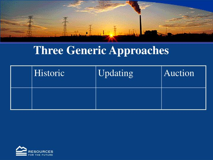 Three generic approaches