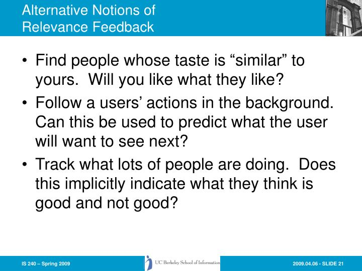 Alternative Notions of