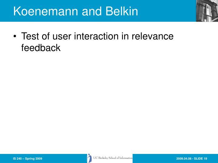 Koenemann and Belkin